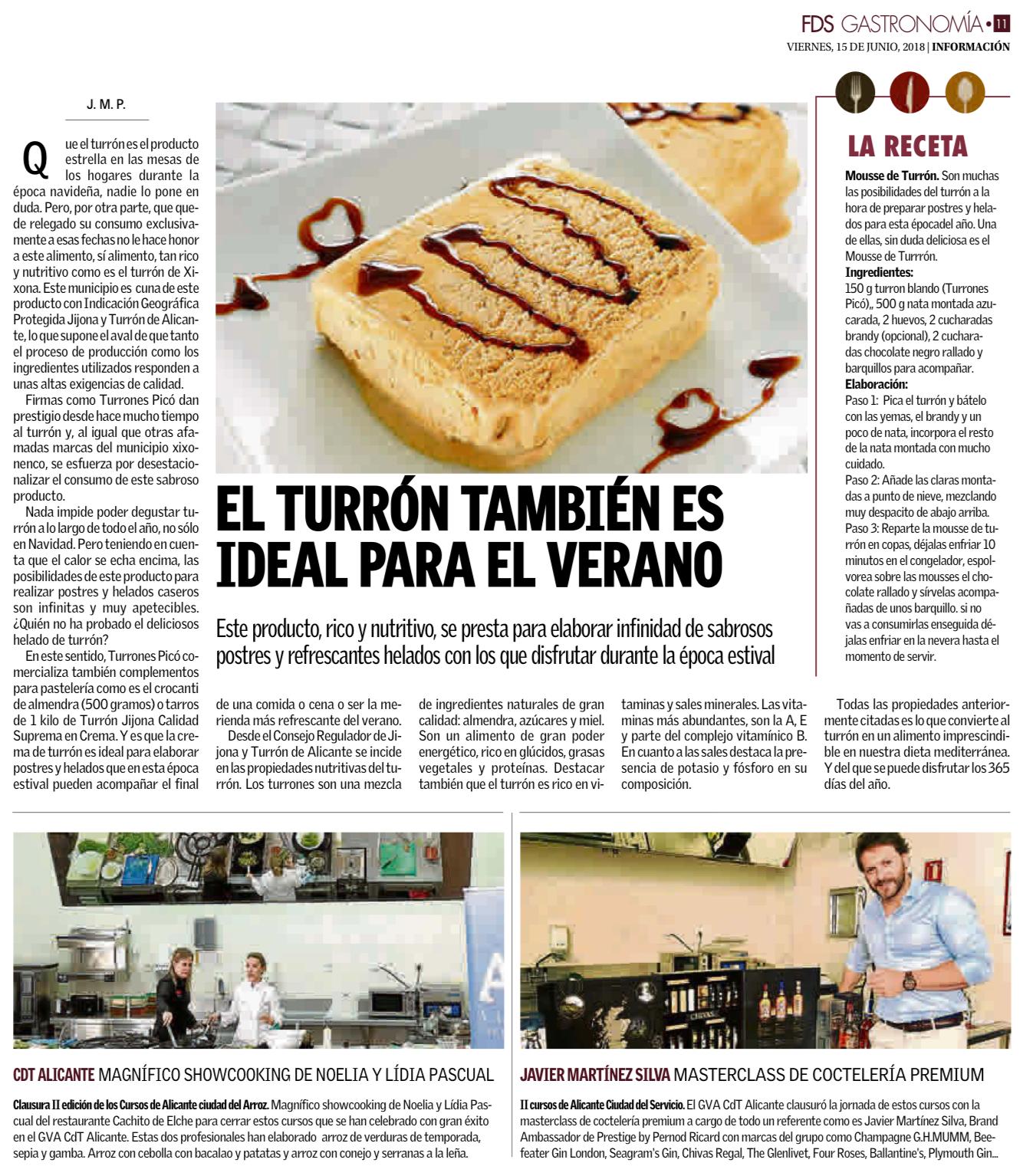 Artículo Diario Información sobre turrón en verano. Turrón Picó.