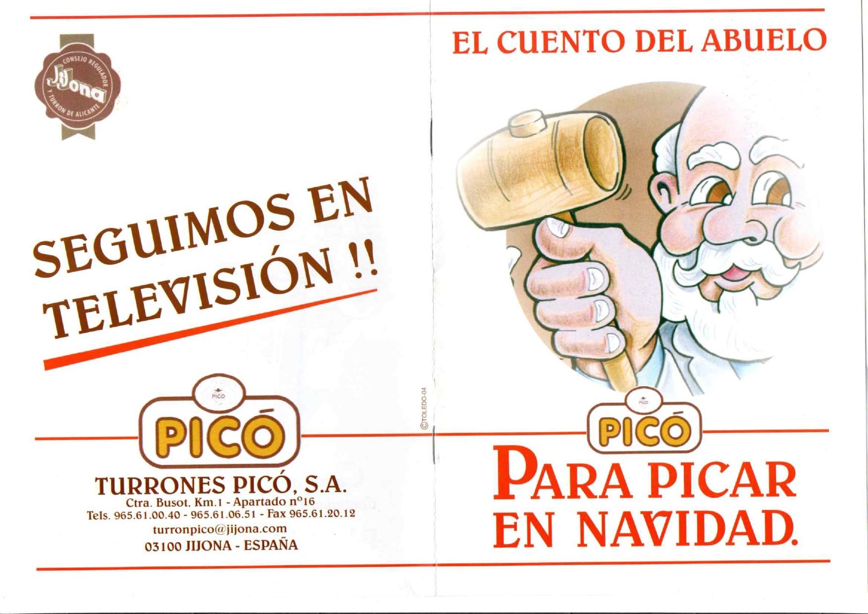 Portada y contraportada del cuento del abuelo Picó