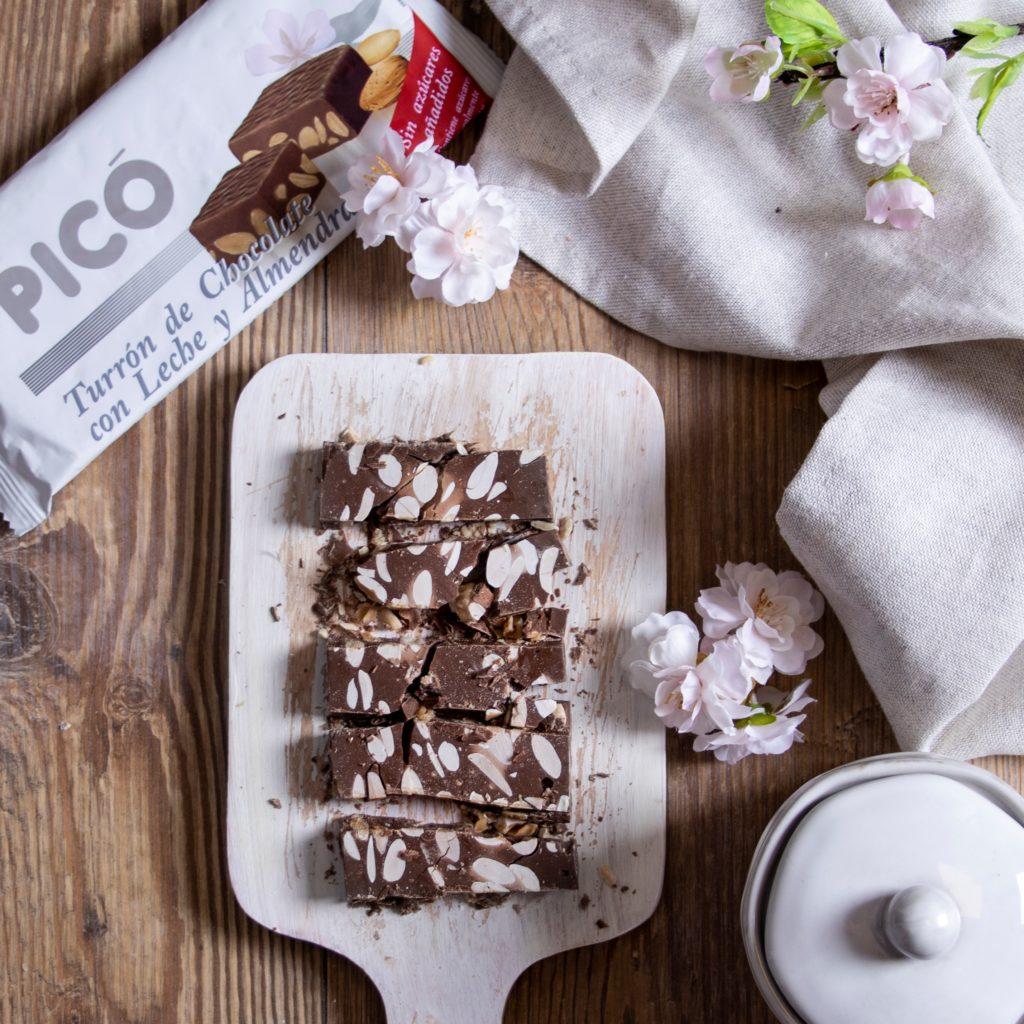 Turrón de Chocolate con leche y almendras sin azúcares añadidos de Turrones Picó