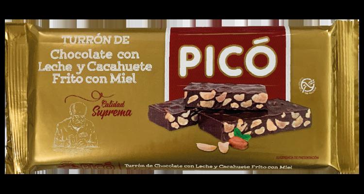 Turrón de Chocolate con Leche y Cacahuete Frito con Miel
