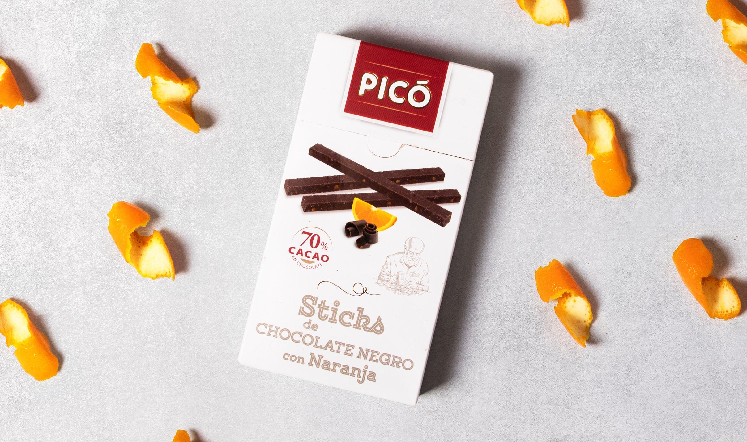 sticks de chocolate negro con naranja de Turrones Picó